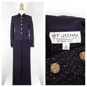 St. John Dark Purple Gold Santana Knit Pant Suit 4